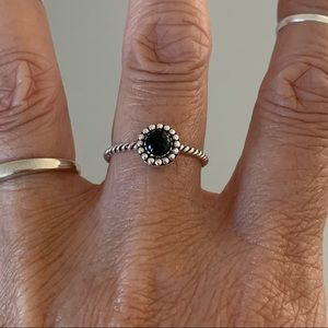 Jewelry - Sterling Silver Dainty Black Stone Ring